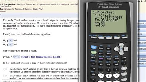 calculator z test statistic hypothesis testing population proportion ti 83 or ti 84