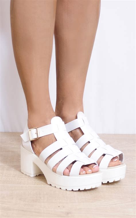 white strappy high heel sandals white strappy sandals cleated platforms high heels silkfred