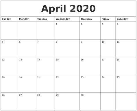 blank calendar template by month april 2020 blank monthly calendar template