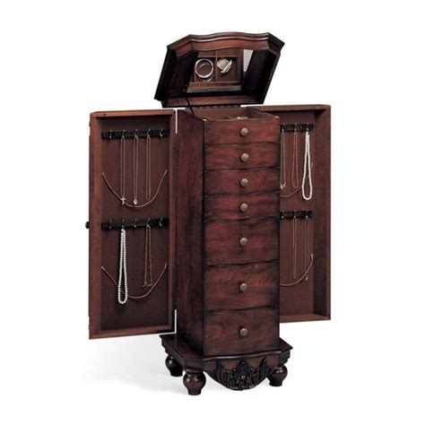 jewelry chest armoire seven drawer antique jewelry armoire in dark cherry 900065