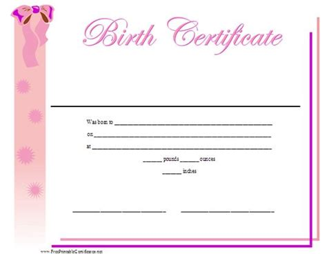 a printable birth certificate for a baby girl featuring a