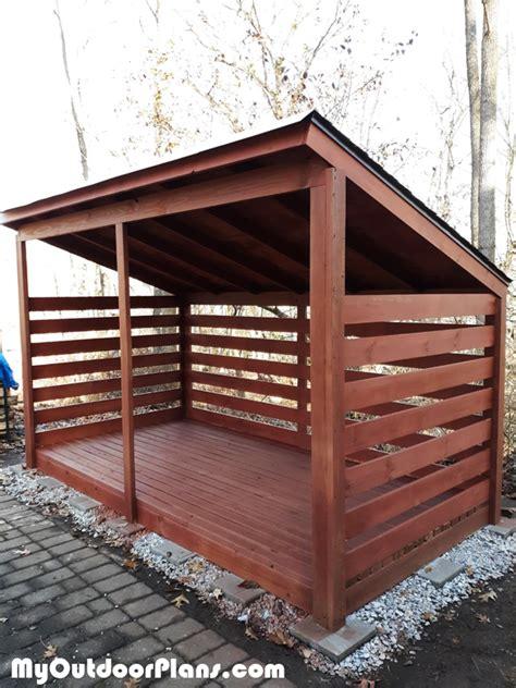 diy lean  woodshed  cords myoutdoorplans