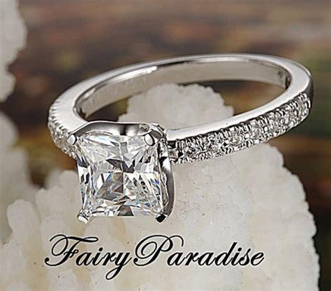 1 ct princess cut lab diamond tiffany inspired engagement
