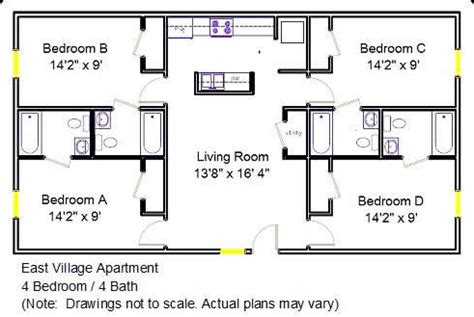 floor plans for a 4 bedroom 2 bath house east village apartment floor plan 4 bedroom 4 bath 2