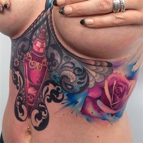 side breast tattoo designs poison bottle lace flowers best design ideas
