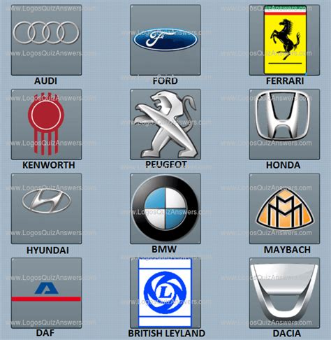 Auto Logo Quiz Level 11 by Car Logos Quiz Answers Level 1