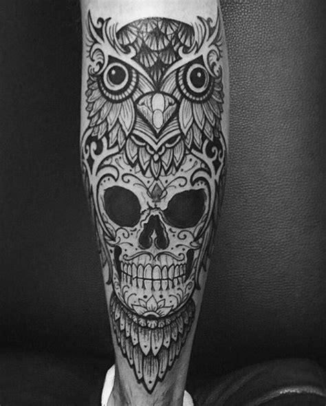 skull owl tattoo design 50 owl skull tattoo designs for men cool ink ideas