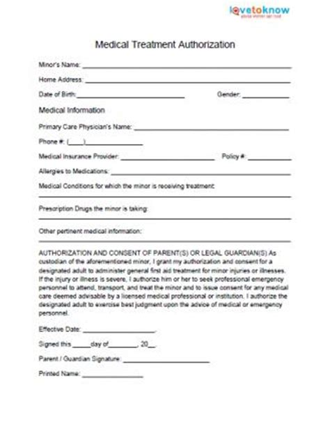 Medical Permission Form For Authorization Form For Grandparents Template