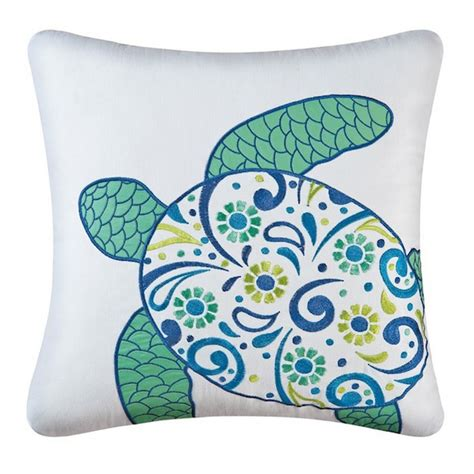 Turtles Pillows by Meridian Sea Turtle Embroidered Pillow