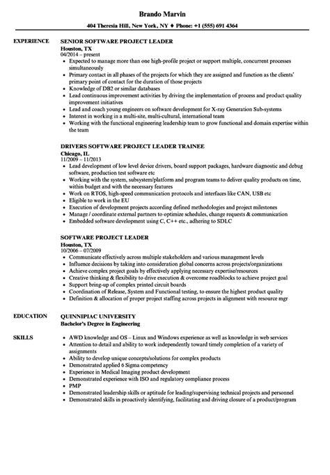 project lead resume format software project leader resume sles velvet