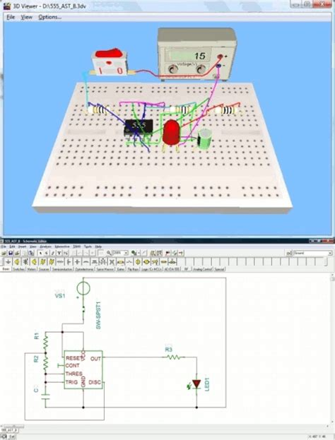 breadboard circuit lab live 3d breadboard tool in tina build a like 3d picture of a solderless breadboard
