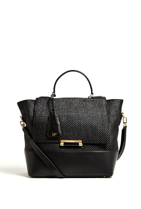 Important Update Designer Kale Bag Sale by Diane Furstenberg Woven Raffia Top Handle Bag In Black