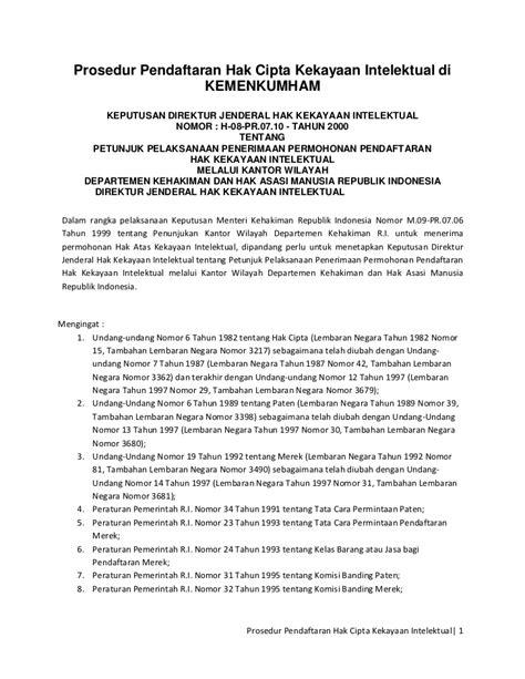 prosedur pendaftaran hak cipta kekayaan intelektual di kemenkumham