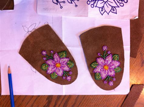 beadwork pink pink floral beadwork for mukluks in progress