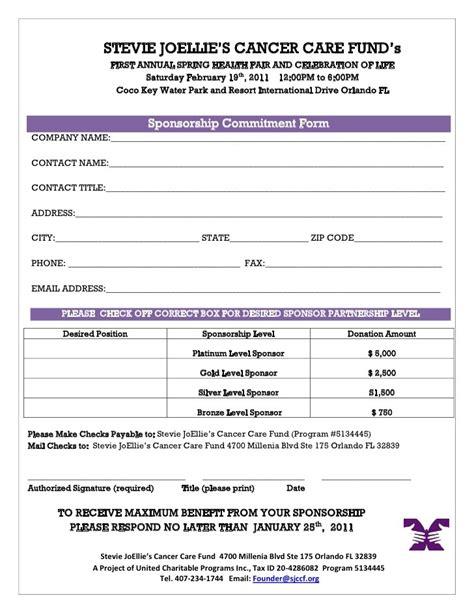 doc 725946 sponsorship form template bizdoska com