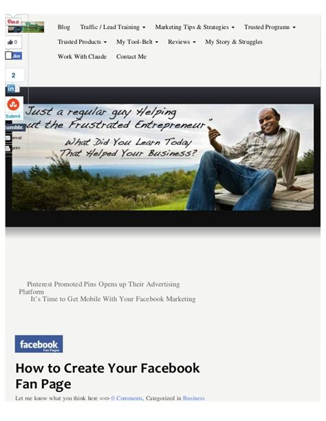 how to make a fan page on facebook how to create your facebook fan page claude toussaint com