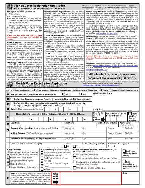 Florida Voter Registration Records Free Florida Voter Registration Form Pdf Template Form