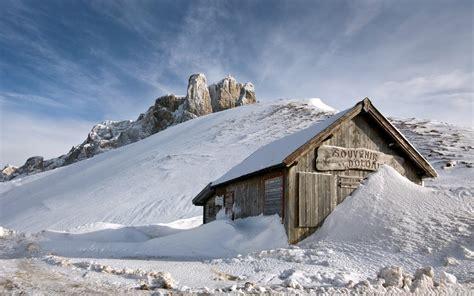 snowy cabin 762145 walldevil