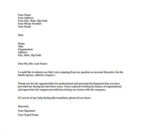 Resignation Letter Sle When Unhappy 13 Employee Resignation Letter Templates Free Sle