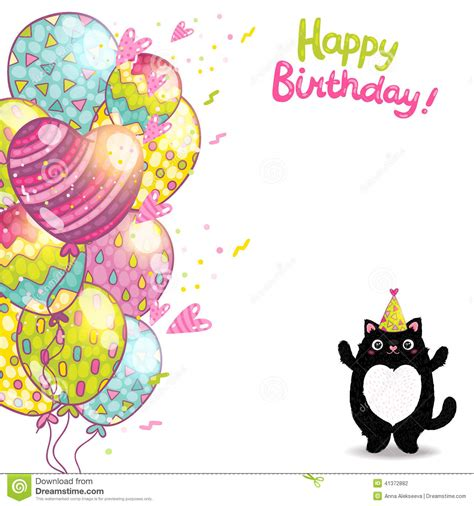 cat birthday card template happy birthday card background with a cat stock vector