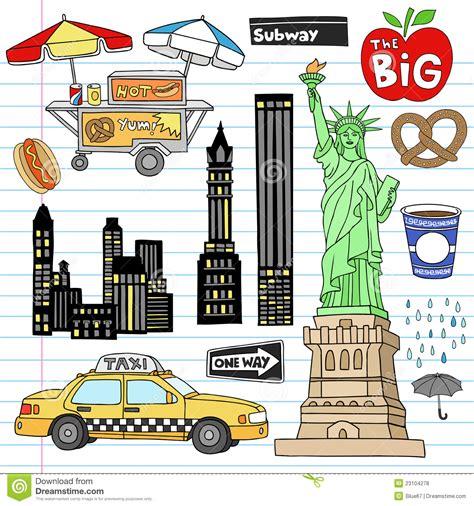 doodle jogos do jogo do vetor do doodle do caderno de new york city