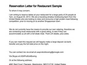Authorization Letter Use Hotel Reservation reservation letter for restaurant sample