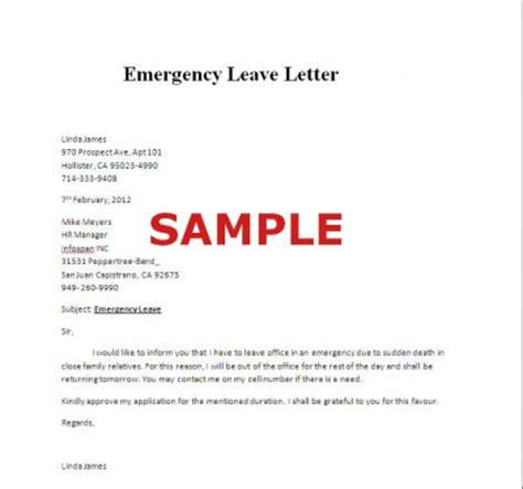 application letter for emergency leave emergency leave letter sle