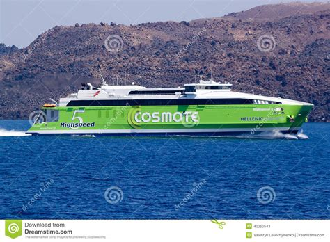 fast boats to greek islands fast ferry on the way to the island of thira fira
