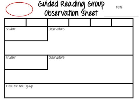 guided reading observation template guided reading exploring early literacy