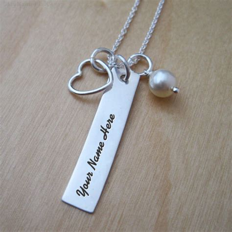 personalized charm rectangle necklace with name