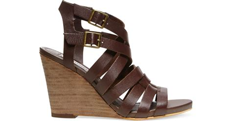 steve madden venis caged wedge sandals in brown chocolate