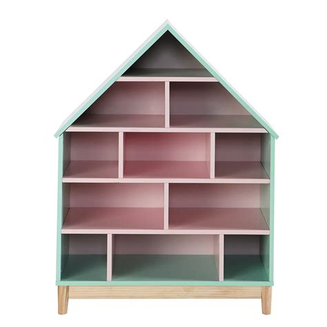 doll s house bookcase in green and pink berlingot
