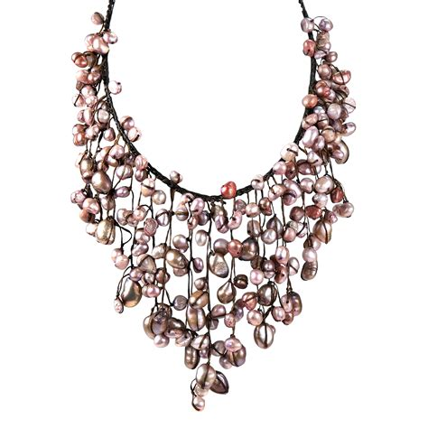 Handmade Bib Necklace - handmade pink pearls waterfall bib necklace aeravida