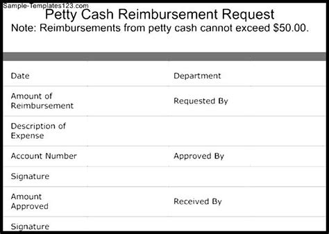 petty cash reimbursement request template sample