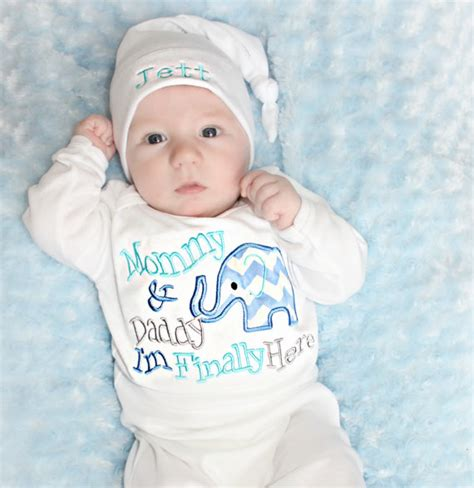 newborn boy take home hospital elephant baby shower boy
