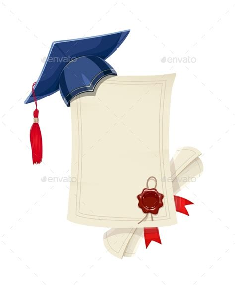graduation scroll template blue academicic graduation cap with diploma blank and