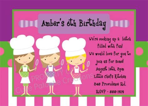 Cooking Birthday Invitation Printable Or Printed Chef Birthday Invitations Kids Cooking Pered Chef Invitation Template
