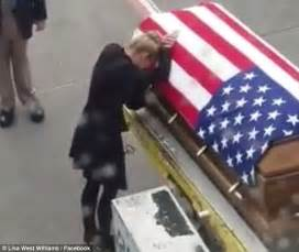 Flag Draped Coffin shawn widow meets his coffin at the airport daily mail
