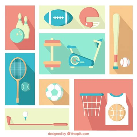 flat design free vector sport elements in flat design style vector free download