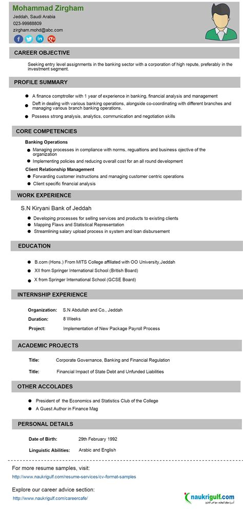 resume format for freshers in banking sector cv format banking finance resume sle naukriuglf