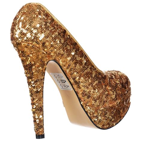 sequin high heel shoes shoekandi gold sparkly sequin high heel platform stiletto