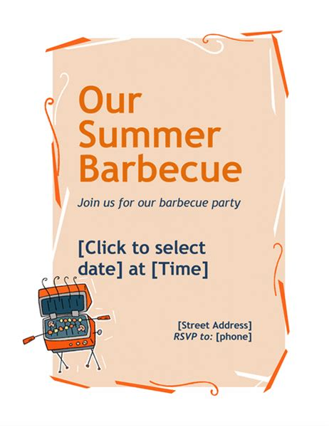 barbecue invite template bbq invitation flyer