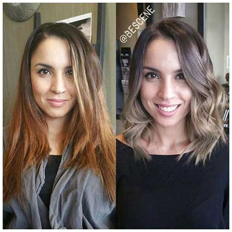 layered medium long length ash brownblonde balayage ombre escaille latest hair trend shoulder length bob cuts bob