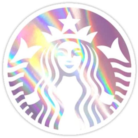 Starbucks mermaid pink hologram logo by from redbubble stickers