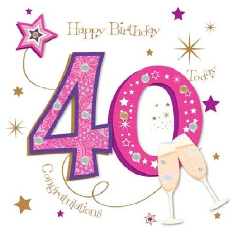 pink 40yeras old happy 40th birthday greeting card by talking pictures