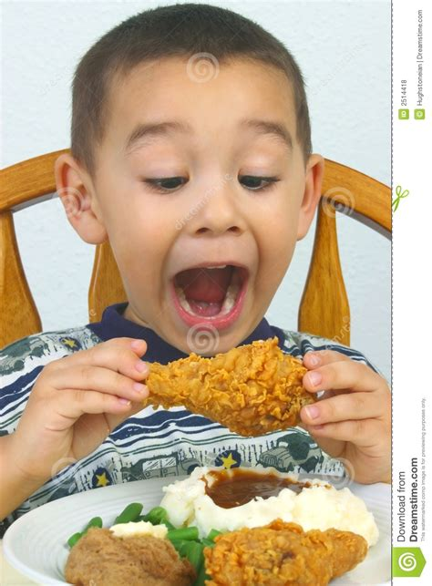 ate chicken boy fried chicken royalty free stock photos image 2514418