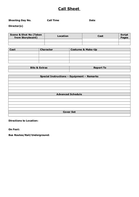 call sheet exle blank