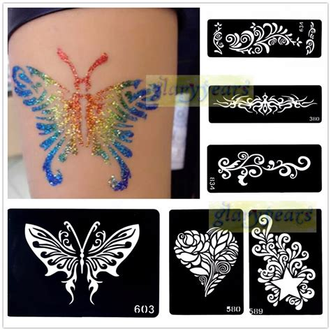 tattoo stencil paper at home aliexpress com buy 1pc mehndi henna glitter temporary
