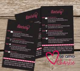 bachelorette party invitations matching itinerary