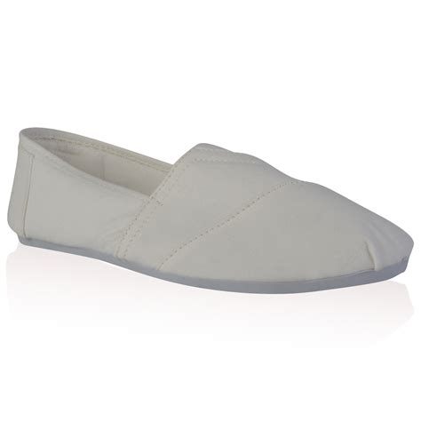 womens white plain canvas slip on flat plimsoll